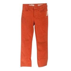NEW Anthropologie Pilcro Orange High Rise Boot Crop Jeans 25 XS Raw Hem Midrise